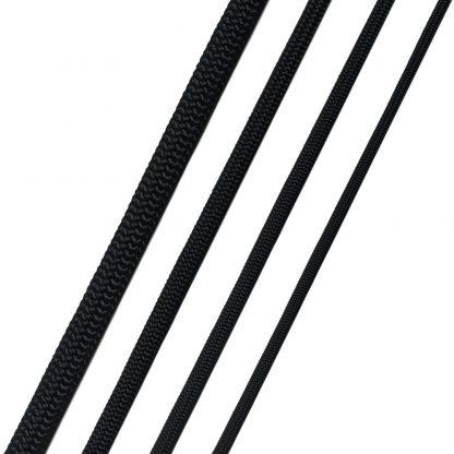 Dubbelflätade HMPE-linor i fyra olika dimensioner.